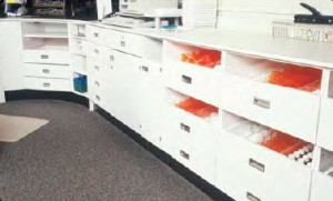 Wood Pharmacy Shelves